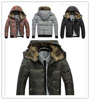 2013 New   Free Shipping Fashion Fur Collar Hood Man's Warm Down Coat Black/Grey/Army Green/Plaid Size M/L/XL/XXL  BJ13072801