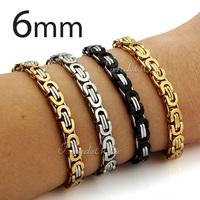 Customized 6mm Mens Boys Chain Bracelet SILVER Tone FLAT BYZANTINE Link Bracelet Stainless Steel Chain Wholesale Jewelry  KBM17