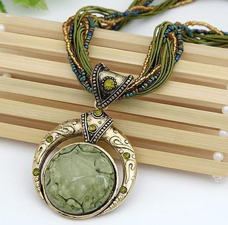 New 2014 Vintage Women Men Jewelry Bohemia Alloy Crystal Elastic Statement Necklaces & Pendant !#2115(China (Mainland))