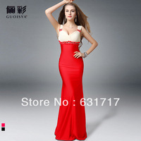 New 2013 Red Long Fishtail Design Slim Hip V-neck Formal Full Bridal Evening dress for Bride Black and Red