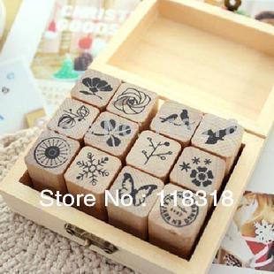 Min Order is $5,(1 Lot=3 Pcs) DIY Scrapbooking Vintage Flowers Stamp Wooden Box Birds Stamps Decoration Stamp Set(China (Mainland))