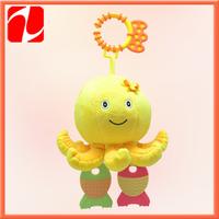 2014 lovely plush octopus, plush hanging rattle, plush rattle toy for babies