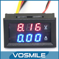 "YB27VA 0.28"" LED Voltage Current Meter 0-100V 10A  DC Red Blue Dual Color  2in1 Voltmeter Ammeter Built Shunt #200937"