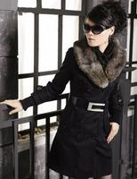 Hot! 2014 Fashion Womens Winter Coat Winter Warm Long Coats Faux Fur Collar Slim Jackets Women With Belt Parkas Army Green
