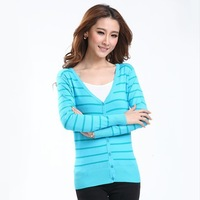 2013 Fall Korean Slim Breathable v-neck Sweater Big yard Long-sleeve Knitting Coat