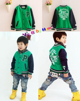 hot 2013 autumn and winter boys children stand collar jacket outerwear sweatshirt zipper baseball green sweater coat 100-140cm