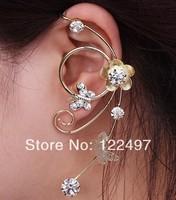 Butterfly punk cuff earring crystal gold plated clip earrings for women
