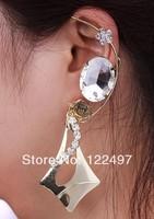 Fashion Exaggerated  punk cuff earrings crystal metal clip earrings for women ear loop jewelry