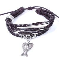 hot sale fahsion design bracelet leather braided bracelet angel wing charm bracelet for women