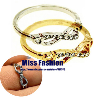 Free Shipping Hotselling Women Cute Infinity Ring With Rhinestones