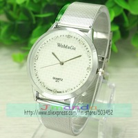 100pcs/lot WOMAGE Logo Lover Quartz Dress Watch Silver Color Clear Dial Wristwatch Wholesale Price Stylish Design Alloy Watch