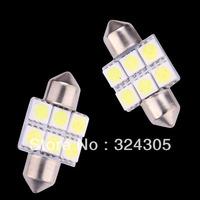 10pcs wholesale Car Interior 31mm White 5050 SMD 6 LED iFestoon Dome Map pathway Light instrument Bulb 12V reading door lamps