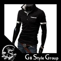 Free Shipping Men's Stylish Slim Short Sleeve Shirts Fit  Polo T Shirt  For Men  3 Color
