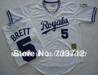 Free shipping Kansas City Royals Jersey #5 George Brett baseball Jerseys 1989 throwback blue, white size M-XXXL
