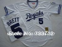 Free shipping Kansas City Royals Jersey #5 George Brett baseball Jerseys 1989 throwback blue, white size M-XXXL