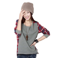 2013 New Autumn Arrival Basic Shirt O-neck Loose Plaid Color Block Decoration Plus Size Full T-shirt S,M,L,XL,2XL,3XL RG1308739