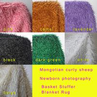 Mongolian Curly Sheep Faux Fur Fabric, Newborn baby photography props. Faux wool Basket Stuffer Blanket Rug, Size 100*75cm