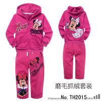 Free Shipping Girls boys sportwear Minnie tracksuits Hoodies coat+fleece pants sport set Winter/Autumn fleece warm clothing