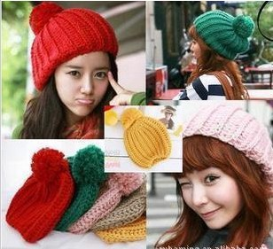 Winter hot candy color ball cap, knitted hat children pineapple Cap Hat