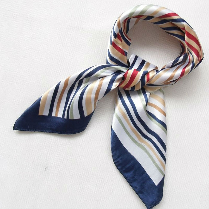 2014 New Arrival Fashion Blue Streak Women Polyester Small Square Scarf Printed,British Style Brand Casual Silk Scarf 52*52cm(China (Mainland))