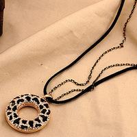 Bohemia black bottom hollow zebra Flower double strand Long Necklace Free Shipping
