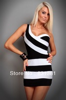 women's sexy pretty Clubwear mini Clubwear Cocktail party black white dress one size free shipping