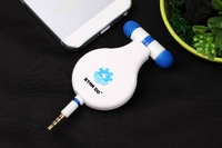 2pcs/lots Wholesales 3.5mm Stereo Retractable Earphone with microphone Universal with  Mic  for phone pad pod samsung laptop