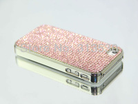 NEW 2013  Sparkling  Inlaid Authentic High Quality Austria Crystal Diamond  Case Cover For iPhone 4S 4 Pink, Free Shipping