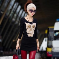 Free shipping Classic best-selling 4 color Autumn Design Sequin Owl 3D Pattern Long t-Shirt Fashion Cotton Top Free shipping
