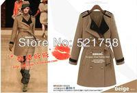 2014 Hot Sale!!!Fashion Handsome fashion lace lapel badges woolen coat jacket