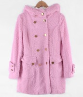 Free Shipping New Womens Winter Jackets And Coats Pink Plus Size Hoodies Winter Coat Plaids And Tweeds Wool Jacket ZA31