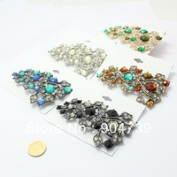 2013 Top Fashion Graceful Charming Hollow out branch and leaf with Colorful Rhinestone Brooch free ship