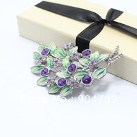 2013 Top Fashion Graceful Charming Hollow out branch and flower with Colorful Rhinestone Brooch free ship