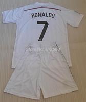 RONALDO 7 BALE 11 BENZEMA 9 PEPE 3 ISCO 23 SERGIO RAMOS 4 2014 real madrid white high quality soccer jerseys (shirts+shorts)