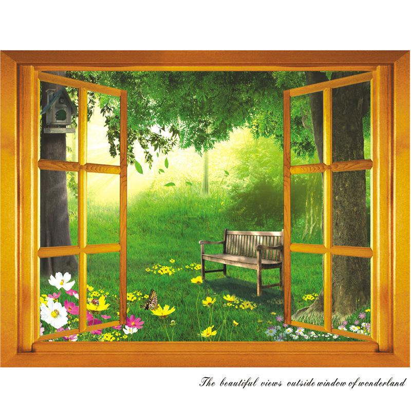 Ay731 livraison gratuite détail fenêtre PVC sticker mural amovible pour la maison de fond sticker mural 50 * 70 cm(China (Mainland))