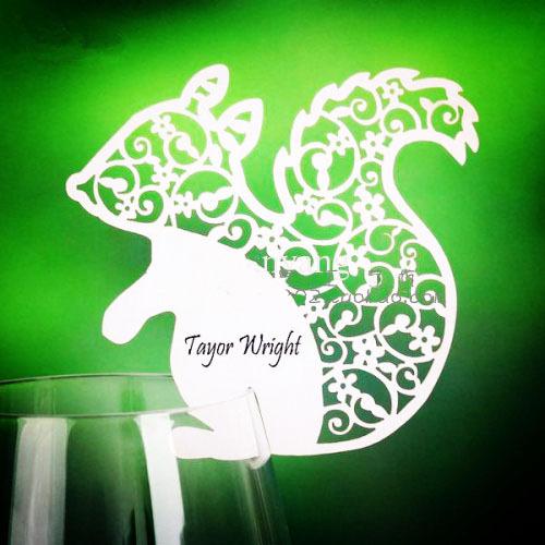 eekhoorn ontwerp laser plaats kaarten gesneden voor wijn glas kerst tafel naamkaartjes feest