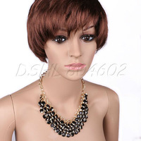 Golden Multi-layer Acrylic Beads Pendant Bib Necklace Clavicle Chain Women
