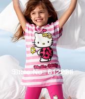 New 2013 summer hello kitty baby clothing set (shirt kids+pirate shorts hello kitty ) free shipping  5 piece/lot girls sets