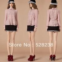 2013 hot seller  women chiffon lace blouse  free shipping