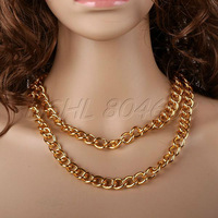 charming 38 inch 38'' Gold-plate Golden Color Curb Chain Necklace gold chunky