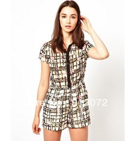 KZ171 New Fashion Ladies' elegant Plaid & Floral print jumpsuits short sleeve romper casual slim shorts Brand designer pants