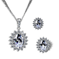 Free Shipping New 3 strands Cubic Zircon Pendant Necklace and Stud Earrings Set Long Lasting Platinum Plating 65075-03-31