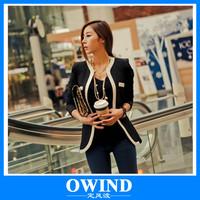 OWIND New fashion Women Long Sleeve Slim Brand Jacket Lady Autumn V-neck Black White Suit OL Jackets Plus Size