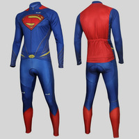 2014 Hot Superman Costume Man of Steel Cycling Kits Bicycle Outdoor Sports Wear Cycling Jersey+Pants Sz S-3XL