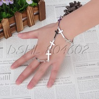 Adjustable Punk Cross Hang Chain Ring to Wrist Bracelet Silver Women