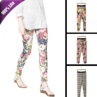 Free Shipping! Printed Long Leggings Women Slim Thin Bottoming Trousers Fashion Pencil Pants