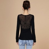 HOT SALE! Free shipping fashion slim long-sleeve Spider web sexy Hollow out net shayi basic shirt women's slim big size t-shirts