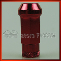 Original Logo 20PCS/SET SR48 48mm Anodized 50BV30 Steel Wheel Lug Nuts M12 x P1.5 1.5 + Wrench Adapter Red