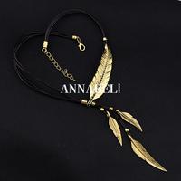 Wholesale Vintage Jewelry Antique Silver Feather Necklaces & pendants 2014 Bohemian Statement Leather Necklace for Women