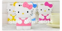 cute cartoon 3D hello kitty Silicon cell phone Case Cover for iphone 4 Soft back case for iphone 4 4s 4g wholesale 10pcs/lot